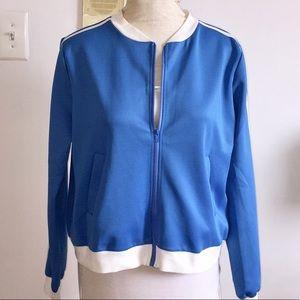Blue and white fashion nova track jacket NWT